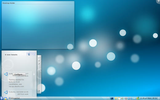 screenshot of Kubuntu 9.10