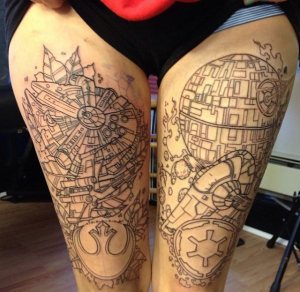 Star wars leg tattoos pic for Arguments against tattoos