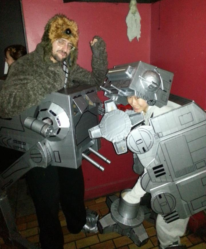 Kevin P. as a Wookiee driving an AT-ST - Melina M. as an AT-AT