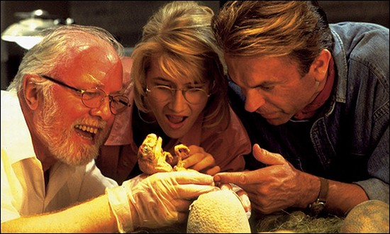 """Attenborough, Laura Dern, and Sam Neill in """"Jurassic Park."""""""