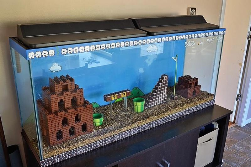 Super Mario Fish Tank Cool Enough To ALMOST Make You Want A Fish Tank