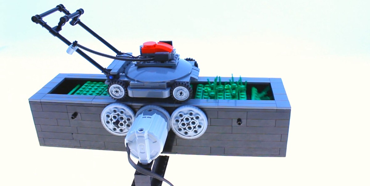 LEGO Lawn Mower Kinetic Sculpture Video