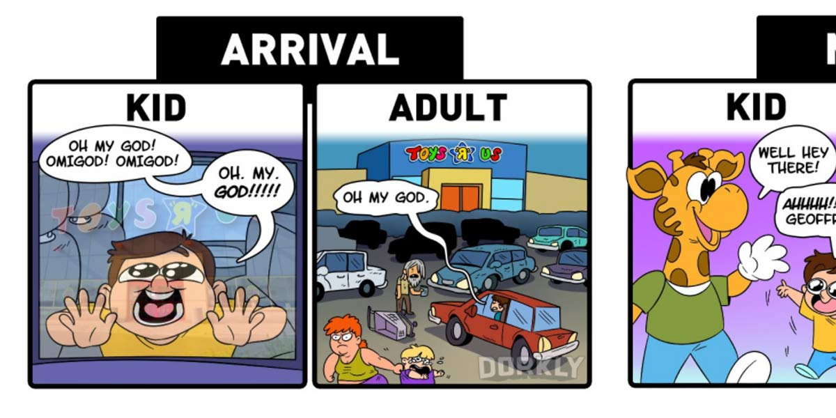 Dorkly Comic: Going To The Toy Store As A Kid VS. As An Adult